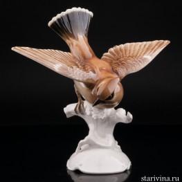 Статуэтка птицы из фарфора Свиристель, Hutschenreuther, Германия, 1955-68 гг.