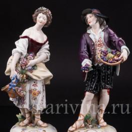 Фарфоровые статуэтки Пара с цветами и фруктами, Richard Eckert & Co, Германия, кон.19 века.